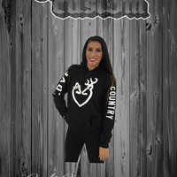 Love Country White Heart Black Hoodie