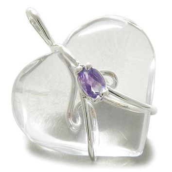 Brazilian Gemstone Heart Crystal Quartz with Faceted Amethyst Cabochon Silver Electroplated Pendant