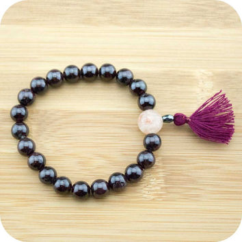 Red Garnet Mala Beads Bracelet with Sunstone