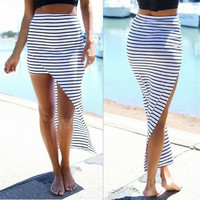 Sexy Womens Striped Bodycon Stretch Irregular Jag Hem Summer Beach Boho Hippie Evening Party Long Skirts Dress Sundress = 5657698369
