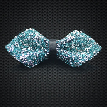 Fashion Men's Crystal Bow Tie Green luxurious Adjustable Neck wear For Men Party Business Wedding Groom