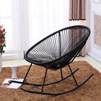 Modern Acapulco Indoor/Outdoor Adult Rocking Chair Furniture Woven Basket Patio Benches Garden Chair Rattan Rocker Porch Seat