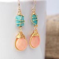 Coral and Turquoise Dangle Earrings, Bezel Set Earrings, Wire Wrapped Earrings