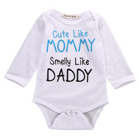 Christmas Gift Baby Bodysuits 2017 Newborn Infant Clothing Baby Boy Girl MOM DAD Letter Long Sleeve White Romper Jumpsuit