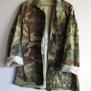 Vintage Camo Jacket US Military Shirt Woodland Camouflage Long Medium