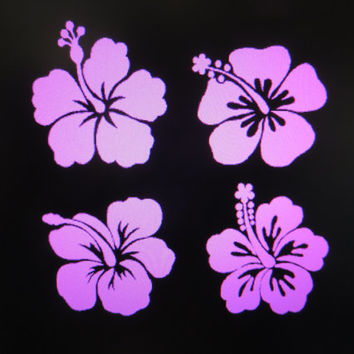 Hibiscus Flower vinyl auto vehicle decal custom stickers Set of 4