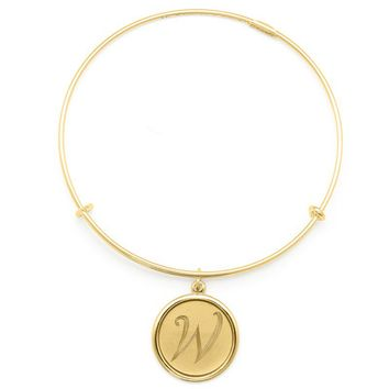 Alex and Ani Precious Initial W Charm Bangle - 14kt Gold Filled