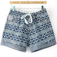 Blue Drawstring Geometric Print Folded Hem Denim Shorts