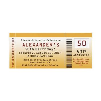 50th Birthday Party Invitation Golden Ticket from Zazzle.com