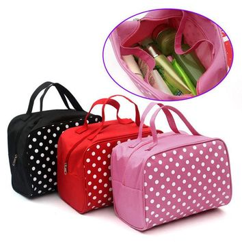 DCCKHG7 Fashion Lady Organizer  Multi Functional Cosmetic Storage Dots Bags Women Makeup Bag With Pockets Toiletry Pouch