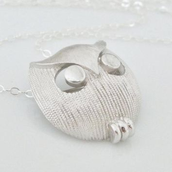 Vintage Silver Owl Necklace, Vintage Trifari Owl, Re-purposed Owl Pin Necklace, Owl Pendant, Owl Brooch, Owl Jewelry