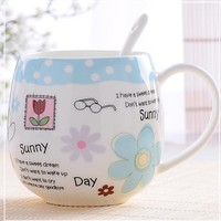 2017 Brand Mugs Lovely Design Milk Juice Lemon Mug Coffee Tea Cup Home Office Drinkware Unique Gift 410ml Cute Cup With Spoon