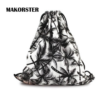 Fashion women Backpacks Canvas drawstring bag feminine coconut tree school printing backpacks small backpack sac a dos femme