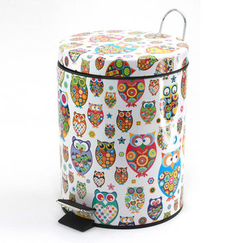 OWL FLIP-LID TRASH CAN
