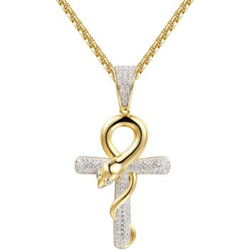 Religious Iced Out Sterling Silver Snake Ankh Pendant