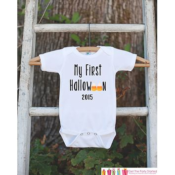 My First Halloween Outfit 2016 - Baby's 1st Halloween Onepiece with Candy Corn - Halloween Bodysuit for Baby Boy or Girl - My 1st Halloween