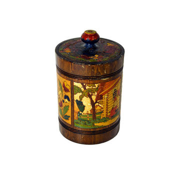 Handmade Russian USSR Wooden Storage Canister by BananasDesign