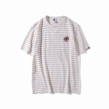 AUGUAU AAPE 'Ape Embroidered Soldier' Striped T-Shirt