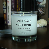 Candle Quotes, Funny Inspirational Quotes – Atheism Is A Non-Prophet Organization – 8 oz Soy Scented Candle