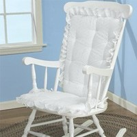 BabyDoll Bedding Eyelet Rocking Chair Cushion Set, White