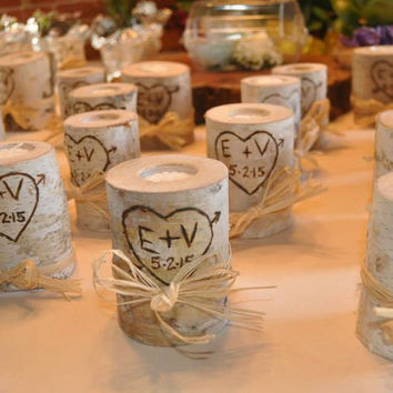 Custom Handmade Birch Wood Candle Wedding Centerpiece Pers