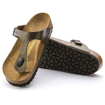 Sale Birkenstock Gizeh Birko Flor Golden Brown 0143941/0143943 Sandals
