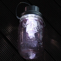 Violet stained solar powered Ball Mason jar lantern, handmade and hand assembled in Sydney