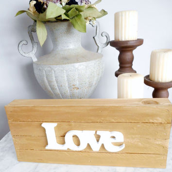 Love Sign, Pallet Wall Decor, Wedding Decor, Gold Decor, Love Wood Sign, Pallet Sign, Gold and White Decor, Love Pallet Sign, Tabletop Sign