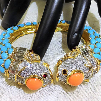 Vintage KJL (Kenneth J Lane)  Coral and Turquoise Cabochons and Rhinestone and Baguette  Double Headed Koi Fish Bracelet