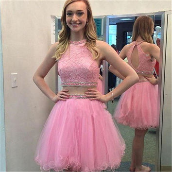 Vestidos de gala Summer O-Neck Beaded with Rhinestones A Line 2 Piece Pink Tulle Lace Party  Cocktail Homecoming dresses short