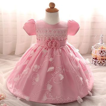 SAMGAMI BABY Spring Baby Girl Baptism Dress Children Clothing Baby Infant Full Moon Flowers Net Veil Wedding TUTU Princess Dress