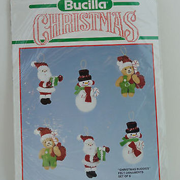Bucilla Christmas Embroidery Kit Jeweled Felt Santa Snowman