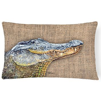 Alligator   Canvas Fabric Decorative Pillow