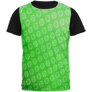 PEAPGQ9 D20 Gamer Critical Hit and Fumble Green Pattern All Over Mens Black Back T Shirt