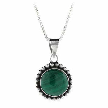 Sterling Silver Malachite Bali Beaded Circle Pendant