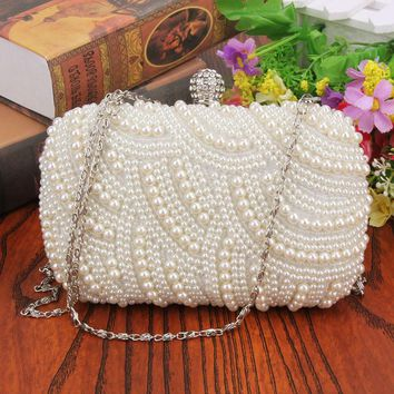 oval shaped pearl beaded white clutch handmade box clutch bag white handbag 16 00 10 00 4 00cm purses and handbags white purse