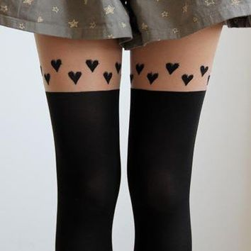 Fake Thigh High Stockings with Hearts