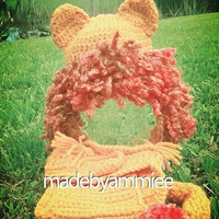 Crochet Lion Mane and Diaper Cover with Tail, Crochet Baby Lion Set, Crochet Infant Lion Mane and Tail, Lion Halloween Costume