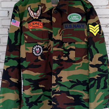 Vintage Camouflage Army Jacket with Patches / DIY Custom Patches Military Camo Jacket Size: M