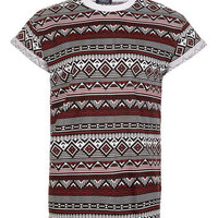 Burgundy Aztec High-Roll T-Shirt - Men's T-Shirts & Vests  - Clothing