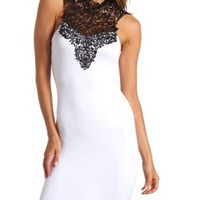 Crochet Lace Mock Neck Bodycon Dress by Charlotte Russe - White