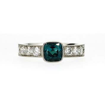 Ready 2 ship size 6.25, Cushion cut indigolith tourmaline and 0.80ct Diamond solitaire ring, white gold, cushion, teal engagement, bezel