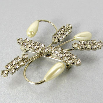 Vintage Rhinestone Teardrop Pearl Brooch Pin (Silver, Clear, Glass, Crystal, Ivory, Flower, 1950s, 1960s, Mad Men, Retro, Costume Jewelry)