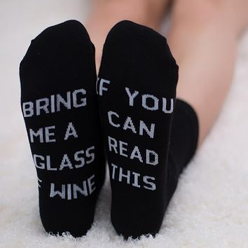 21 Styles humor words printed socks If You can read this Bring Me a Glass of Wine Cotton casual socks unisex socks free shipping