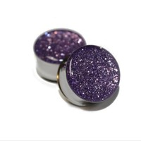 Pair (2) Glittery Purple Orchid Glitter Stainless Steel Ear Plugs Double Flared Steel Saddle Gauges- 2g-0g -00g -1/2g -9/16g -5/8g-3/4g-7/8g-1