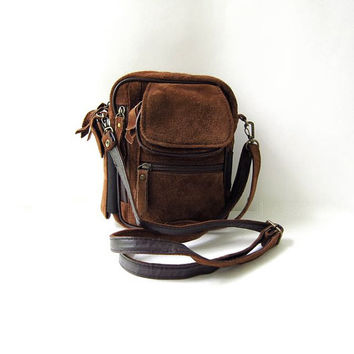 80s suede shoulder bag. brown purse. shoulder pack. across body bag.