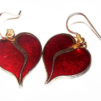 "Laurel Burch Earrings ""Yoel"" Red Abstract Hearts Enamel French Gold Hooks 1.5' Vintage"