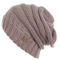 H-6100-07a Oversized Slouchy Beanie - Brown