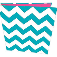 """bloom daily planners Binder (+) 3 Ring Binder (+) 1 Inch Ring (+) 10"""" x 11.5"""" Inches - Teal Chevron Design"""