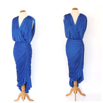 SIZE LARGE Vintage 1970s does 1920s Blue Coffin Draped Mermaid Dress Art Deco Sculpture Gown 1930s Fitted Old Hollywood Prom Fishtail Dress